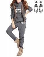 MODETREND Donna 3 Pezzi Felpa Tute Pullover Spesse Felpa Cappotto Invernale Tuta Training Ispessisce Hoodie Giacca Gilet + Felpa con Cappuccio + Pantaloni (M, grigio 2)