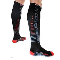 NV Compression 365 Cushion Calze a Compressione - Nero - Cushioned Compression Socks (Pair) 20-30mmHg - for Sports Recovery, Work, Flight - Running, Cycling, Soccer, (Nero/Rosso Strisce, Medium)