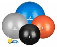 Palla da ginnastica / fitness BODYMATE - Palla da yoga per allenamento yoga & Pilates Core compresa pompa - Resistente fino a 300kg, disponibile nelle dimensioni da 55, 65, 75, 85 cm, blu, argento, arancione, nero
