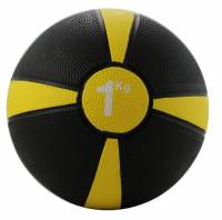 Fitness Mad Medicine Ball, Palla Medica Unisex – Adulto, Nero/Giallo, 1Kg