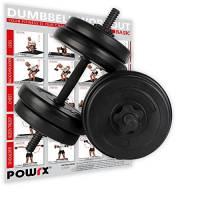 POWRX - Manubri pesi 20 kg set (2 x 10 kg) + PDF workout con 20 esercizi