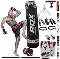 RDX Sacco da Boxe Pieno Arti Marziali MMA Sacchi Pugilato Kick Boxing Muay Thai con Guantoni Allenamento Catena Gancio Soffitto 13PC Punching Bag Set 4FT, 5FT