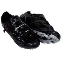 VeloChampion Elite SPD MTB Cycling Shoes For Men Women Ideal For Mountain, Cyclo Cross Country XC Bikes in Black/Silver + Socks Included (Size 44)
