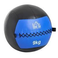 homcom Palla Medica Crossfit Fitness Wall Ball 9kg in Ecopelle Ф35cm Nero-Blu