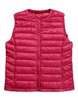 Giacche di Piuma Senza Maniche per Donna Invernali Giubbotto Cappotto Caldo Gilet Sportiva Packable Rosso M