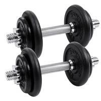 Songmics Set di Manubri Metallici in Ferro Fitness Palestra Pesi Bilanciere 20 kg SYL20T