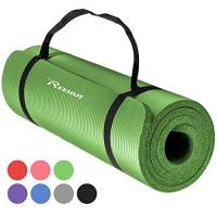 REEHUT da 12mm ad Alta Densità Extra NBR Tappetino per Yoga per Pilates, fitness e Allenamento con Cinturino (Verde)