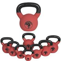 Gorilla Sports Kettlebell Red Rubber,  in Ghisa, Rivestimento in Neoprene, Colore Rosso. Pezzo 16 kg
