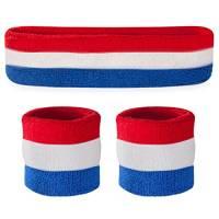 Suddora, set con fascia e bracciali parasudore, per lo sport, Uomo, Rosso/bianco/blu