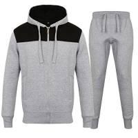 Tuta da uomo in pile, tuta con cappuccio e zip jogging in pile tuta Best 2Tone Grey X-Large