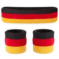 Suddora, set con fascia e bracciali parasudore, per lo sport, Uomo, Nero rosso giallo