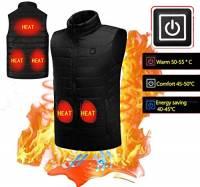 KOBWA Elettrico riscaldato Gilet Gilet da Uomo e da Donna Gilet riscaldato Vestiti Cappotto Invernale Regolabile 5 V di Ricarica USB Sport Esterno Caldo Termica Gilet, EU-2XL