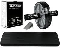 Ab Roller da PeakPulse - Ruota per addominali con imbottiture XL per le ginocchia,manuale professionale per l'allenamento e la prevenzione di infortuni