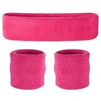 suddora Parasudore Set, Fascia e bracciali, per lo sport, rosa fluo