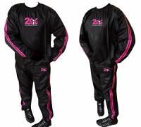 Tuta sauna dimagrante 2Fit, di colore rosa, resistente, antistrappo, ideale per palestra, fitness, jogging, uomo Donna