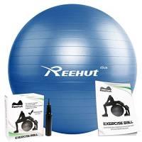 Reehut Palla da Allenamento Nucleo Anti-Scoppio con Pompa & Libro Elettronico per Yoga, Equilibrio, Allenamento, Fitness - Blu 65cm