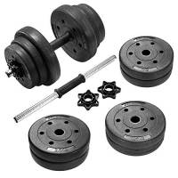 SONGMICS Set di Manubri Ricoperto con Plastica PE Fitness Palestra Pesi Bilanciere 20 kg, 30kg, 40kg (20.00)