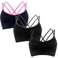 Libella YOGA Donna Reggiseno Sportivo Comfort Reggiseno Yoga Spalline Incrociate Imbottite Imbottiture Rimovibili 3749 nero+grigio+rosa S/M