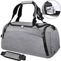 Borsone Palestra Borsa Sportiva con Scomparto per Scarpe Borsa Da Viaggio Duffel Bag Uomo Tote Grande Impermeable 40L (grigio)