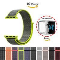 Chok idea del cinturino da polso per Apple Watch, [con custodia in TPU trasparente], nuovi nylon sport loop chiusura con gancio e cappio regolabile cinturino da polso fascia di ricambio per iWatch Apple Watch Series 1Series 2Series 3,38mm/42mm ,9colori
