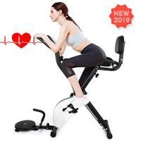 INTEY Cyclette da Casa Pieghevole con Elastici Fitness Pull Up Bande e Balance Board, 16 Livelli di Resistenza, F-Bike con Sensori delle Pulsazioni e Display LCD, Allenatore Cardio