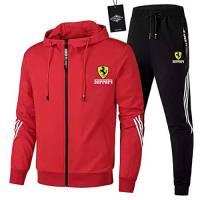 Ashleyy Uomo Tuta Sportiva da Jogging Fer.r-ari Zip Giacca con Cappuccio + Pantaloni Sport / Rot/XL sponyborty