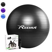 REEHUT Palla da Ginnastica Resistente Fino a 498kg Anti-Scoppio con Pompa per Fitness, Allenamento, Yoga e Pilates - 75CM, Nero