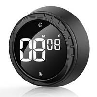 Timer da Cucina, Digitale Sveglia Egg Timer Magnetico Nero, Cronometro e Conto alla Rovescia Timer con Display LCD, Manopola Twist Design, per Cucinare, Cuocere al Forno, Fare Sport, Imparare