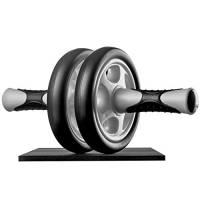 Ultrasport Ab Roller Attrezzo fitness maneggevole e trainer per muscoli addominali con supporto per le ginocchia e istruzioni per gli esercizi, Unisex adulto, Nero