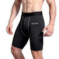 AMZSPORT Leggings Compression Short da Uomo Sport Baselayer Asciugatura Rapida Pantaloni Nero L