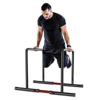 YOLEO Parallele Fitness Calisthenics Regolabile, Barra Parallele Dip, Antiribaltamento, Regolabile in Altezza e Larghezza, Acciaio, Nero