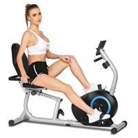 ANCHEER Bici da Fitness Resistenza Magnetica 8 Livelli, Cyclette Orizzontale Magnetico Display LCD/Supporto per Tablet/Sensori di pulsazioni/Sedile Regolabile con Schienale, Max.110 kg (Grigio + Blu)