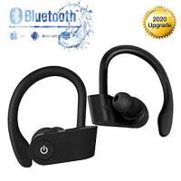Cuffie Bluetooth 5.0 Senza Fili, Auricolari con Custodia da Ricarica 25 Ore di Tempo di Utilizzo, Microfoni Integrati, Riduzione del rumore Prova di Sudore Cuffie sportive, per Samsung iPhone Huawei