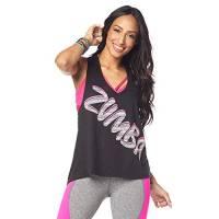 Zumba Fitness - Canotta da Donna Sexy con Apertura sul Retro, Traspirante, Donna, Z1T01302, Power Bold Black, M