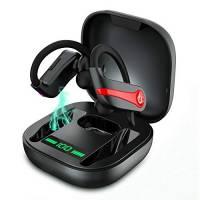Cuffie Bluetooth Sport, Auricolari Bluetooth 5.1 Senza Fili 10 Ore di Gioco, Hi-Fi Stereo Auricolari Wireless in Ear con Display LCD IP7 Impermeabile Custodia Di Ricarica Portatile Correre Fitness