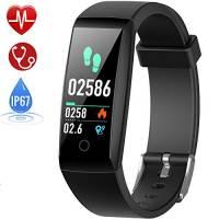HETP Orologio Fitness Tracker Cardiofrequenzimetro da Polso Impermeabile IP67 Activity Tracker GPS Pedometro da Polso Braccialetto Sfigmomanometro Cronometro Sport Smartwatch Contapassi per Uomo Donna