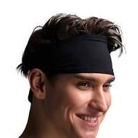 VIMOV Fascia da Uomo- Sports Sweatband per Corsa, Ciclismo, Yoga, Pallacanestro - Fascia Hair Wicking Estremamente Stretto, 2 Pacchetti Nero