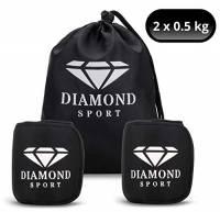 Diamond Sport - Pesi per Caviglie e Polsi - (2 X 0.5 Kg); Borsa da Trasporto Inclusa; Cavigliere con Pesi per Esercizio Fisico; Cavigliere Fitness Uomo e Donna; Allenamento Gambe, Glutei e Braccia