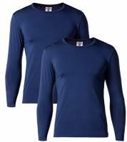 LAPASA Uomo T-Shirt Termica Pacco da 2 –Ti Tiene al Caldo Senza Stress- Intimo Maniche Lunghe Invernale M09 (XL(Torace 111-117 cm/Manica 62 cm), Blu Navy)