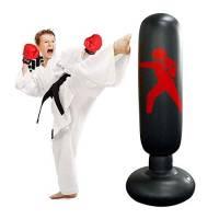 JanTeel Sacco da Pugno da 160 cm, Gonfiabile Boxe Fitness Target Stand Bag, MMA Punching Kick Training Tumbler Bag per Bambini Adulti alleviare la Pressione Body Building (Nero-C)