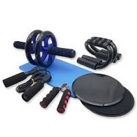 Azeekoom 8 in 1 Set di Fitness - AB Wheel Roller + Tappetini da Yoga + 2 Dischi Scorrevoli + 2 Maniglie per Flessioni + Pinza Mano + Corda per Saltare, per Perdere Peso Fitness Bodybuilding Esercizio