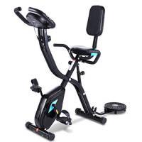 Profun Cyclette pieghevole da fitness, 10 livelli di resistenza magnetica e sedile ampio e confortevole, bicicletta di esercizio da interni, supporto per tablet e monitor digitale