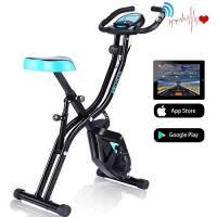 Profun Esercizio di Bicicletta Fitness Bici Spinning Bike Cyclette per Casa 2 in 1, Cyclette con Resistenza Magnetica Regolabile a 10 Livelli e Fasce da Allenamento Indoor Cycling Bike con App