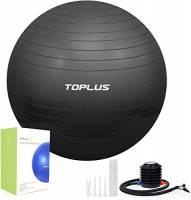 TOPLUS Palla Fitness, Palla di stabilità Anti-Scoppio e Extra Spessa con Pompa Rapida Palla da Ginnastica per Fitness Yoga e Pilates (Nero 65cm)