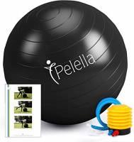 PELELLA Palla Fitness 55cm/65cm Ebook Video Corso Esercizi Ginnastica Fitball Fitness Gymball Pilates Yoga Pilates Gravidanza Attrezzi Palestra Casa Fisioterapia Balance (55 Cm)