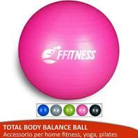 FFitness Total Body Balance Ball per Ginnastica prenatale | Big Gymball (55 65 75 85 95 cm) antiscoppio per Core Stability | Esercizi Addominali, Resistenza, potenziamento (Rosa, 75 cm)