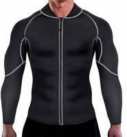 Chumian Sauna Dimagrante Uomo Neoprene Fitness Manica Lunga T-Shirt per Sudorazione Sauna Sudore Canotta Dimagrimento Body Shaper (Nero, XXXL)