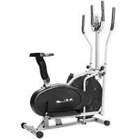 ISE 2-in-1 Cyclette Ellittica Crosstrainer con Sede, Esercizio Bici Fitness Cardio Allenamento con Sensori delle Pulsazioni, Max.120KG, SY-9002