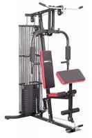 SportPlus Multi Gym Stazione Fitness Multifunzionale per Casa con Pesi incl., Allenamento per Tutto il Corpo, Panca Multifunzione con Istruzioni di Montaggio e Esercizi, Sicurezza Testata,  Nero/Rosso
