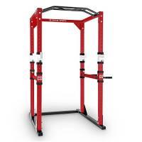 Capital Sports Tremendour Power Rack Stazione Allenamento (2 Safety Spotter, 4 Ganci J Regolabili, Sbarra Fissa per trazioni, Max. 300kg.) - Rosso